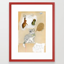 Calculating Cat Framed Art Print