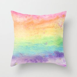 Watercolor Rainbow Wash Throw Pillow