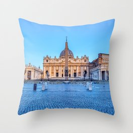 St. Peter's Square in Vatican City - Rome, Italy Throw Pillow