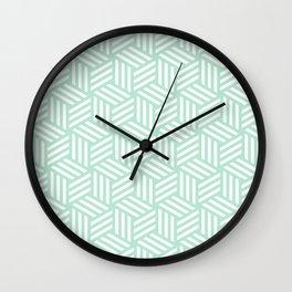 Geometric Art, Mint Green, Line Art Prints Wall Clock