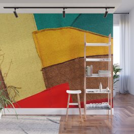 Colorful Textile Patches. Red, Green, Yellow Colors. Natural Abstract Art Wall Mural