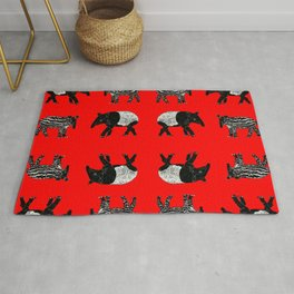 Dance of the Tapirs in red Rug