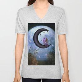 Beautiful fairy sitting on the moon Unisex V-Neck