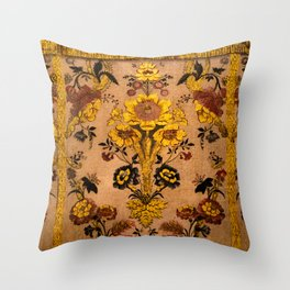 Golden Floral Tapestry Throw Pillow