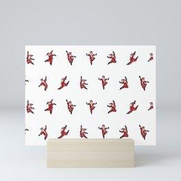 Dancing Santa pattern 4 Mini Art Print