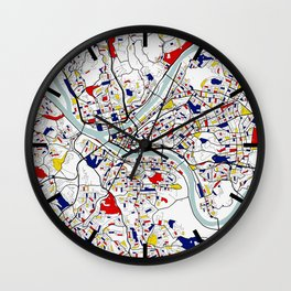 Pittsburgh City Map of the United States - Mondrian Wall Clock