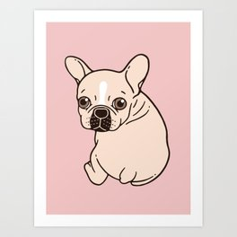 Cute cream Frenchie needs some love Art Print