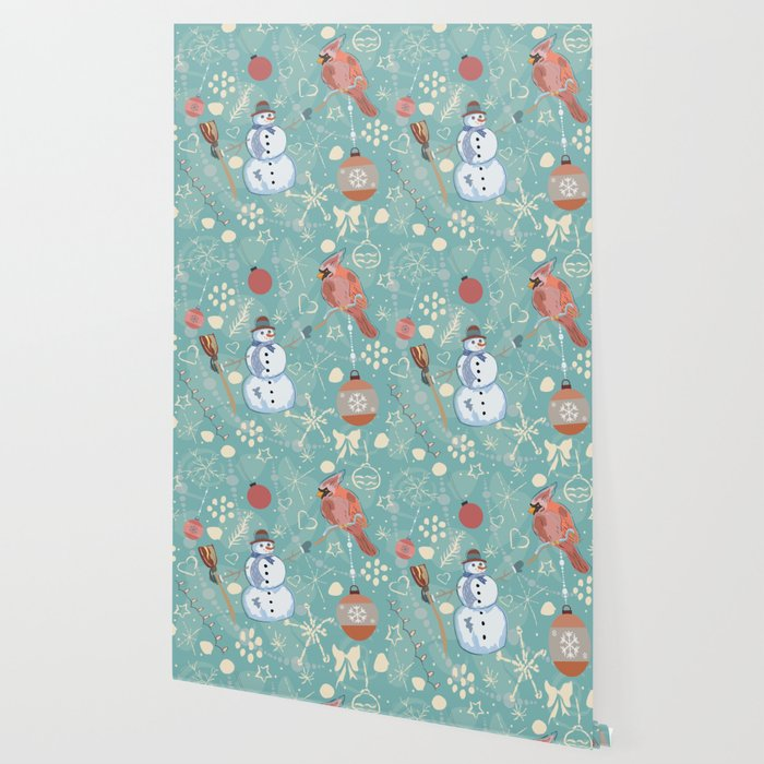 Seamless Winter Pattern with Christmas Ornaments Wallpaper