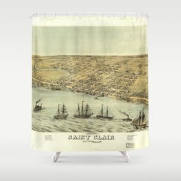 Bird's Eye View of Saint Clair, Michigan (1868) Shower Curtain