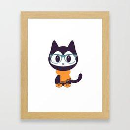Cute kitten in scarf and glasses Framed Art Print