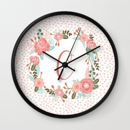 Monogram C - cute girls coral florals flower wreath, coral florals, baby girl, baby blanket Wall Clock