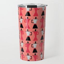 Ole coffee pot in coral Travel Mug