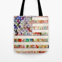 usa Tote Bags featuring USA by Bekim ART