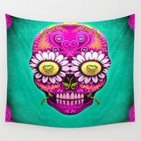 sugar skull Wall Tapestries featuring Sugar Skull by Mr Grin