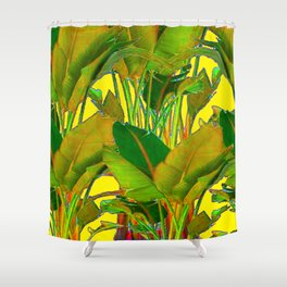 GOLDEN TROPICAL FOLIAGE GREEN & GOLD LEAVES AR Shower Curtain