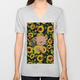Sunflowers Bear And Black Crow Ladybugs Unisex V-Neck