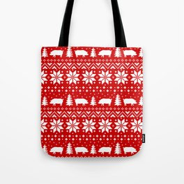 Pig Silhouettes Christmas Sweater Pattern Tote Bag