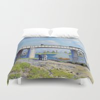 monet Duvet Covers featuring Claude Monet - Bridge by Elegant Chaos Gallery