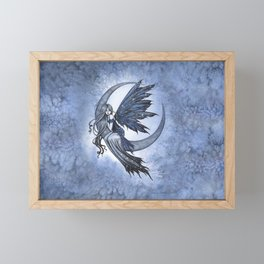 Steel Moon Blue Fairy Fantasy Art by Molly Harrison Framed Mini Art Print