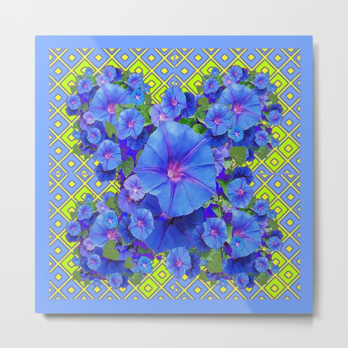 Lime-Blue Morning Glories Pattern Art Metal Print