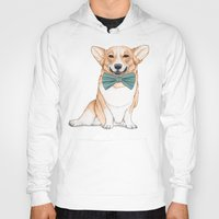 corgi Hoodies featuring Corgi Dog by Barruf