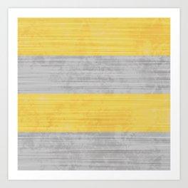 Brush Stroke Stripes: Silver and Gold Art Print