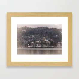Bled Island Dusted With Snow Framed Art Print
