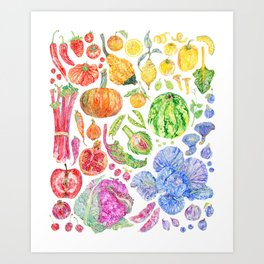 Rainbow of Fruits and Vegetables Art Print
