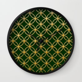 Dark green and gold foil interlocking circles Wall Clock