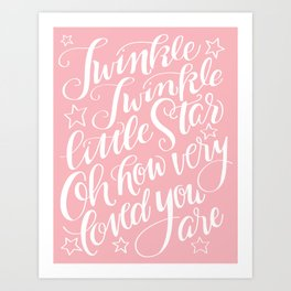 Twinkle Twinkle Little Star Pink Art Print