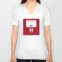 will ferrell V-neck T-shirts featuring No278 My Anchorman Ron Burgundy minimal movie poster by Chungkong