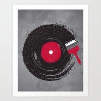 record Art Prints featuring Art of Music by dan elijah g. fajardo
