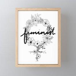 Feminist - Black & White Framed Mini Art Print