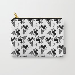 B&W Mickey Icecream Splash Pattern Carry-All Pouch