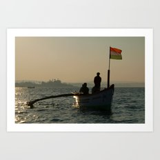Dolphin Boat with Indian Flag Palolem Art Print