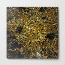Paris France - Abstract Night City Map Metal Print