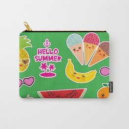 Hello Summer Persimmon, pear, pineapple, cherry smoothie, ice cream cone, sunglasses. Kawaii Carry-All Pouch