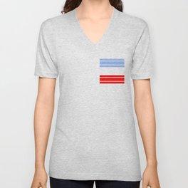 TEAM COLORS 9...Red,light blue, white Unisex V-Neck