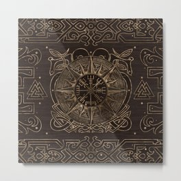 Vegvisir - Viking Compass Ornament Metal Print