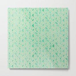 Aqua Blue Metallic Foil Animal Spots on Spearmint Mint Metal Print