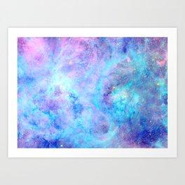 Bright Tarantula Nebula Aqua Lavender Periwinkle Art Print