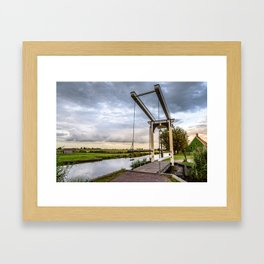 Canal and Bridge in Netherlands at Sunset Framed Art Print