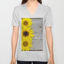 Sunflowers on a Vintage Wooden Table Unisex V-Neck
