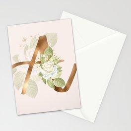 Gold Vintage Rose A Letter Stationery Cards