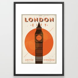 Vintage London Big Ben Poster Framed Art Print