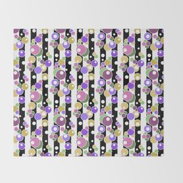 Colorful polka dots on black and white striped background . Throw Blanket