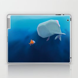 The little sperm whale and the fish Laptop & iPad Skin