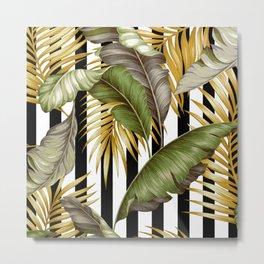 HAWAIIAN GARDEN TROPICAL LEAVES | stripes Metal Print