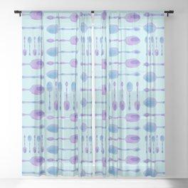 Unique Artsy Spoons! (Light Blue) Sheer Curtain