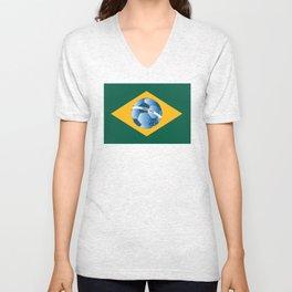Brazil flag with ball Unisex V-Neck